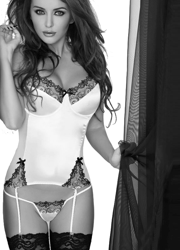 Donna wore a black and white lace corset